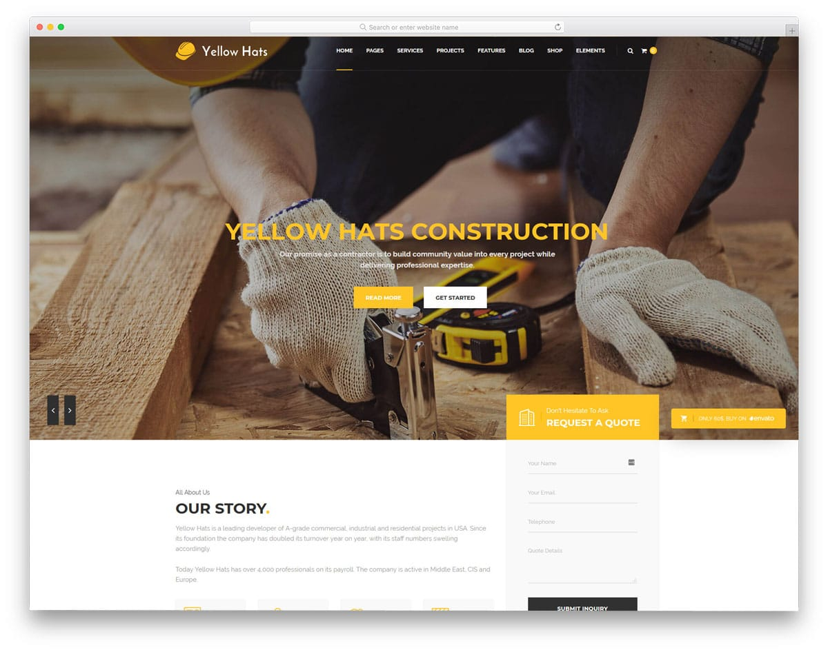 multipurpose WordPress themes for construction businesses