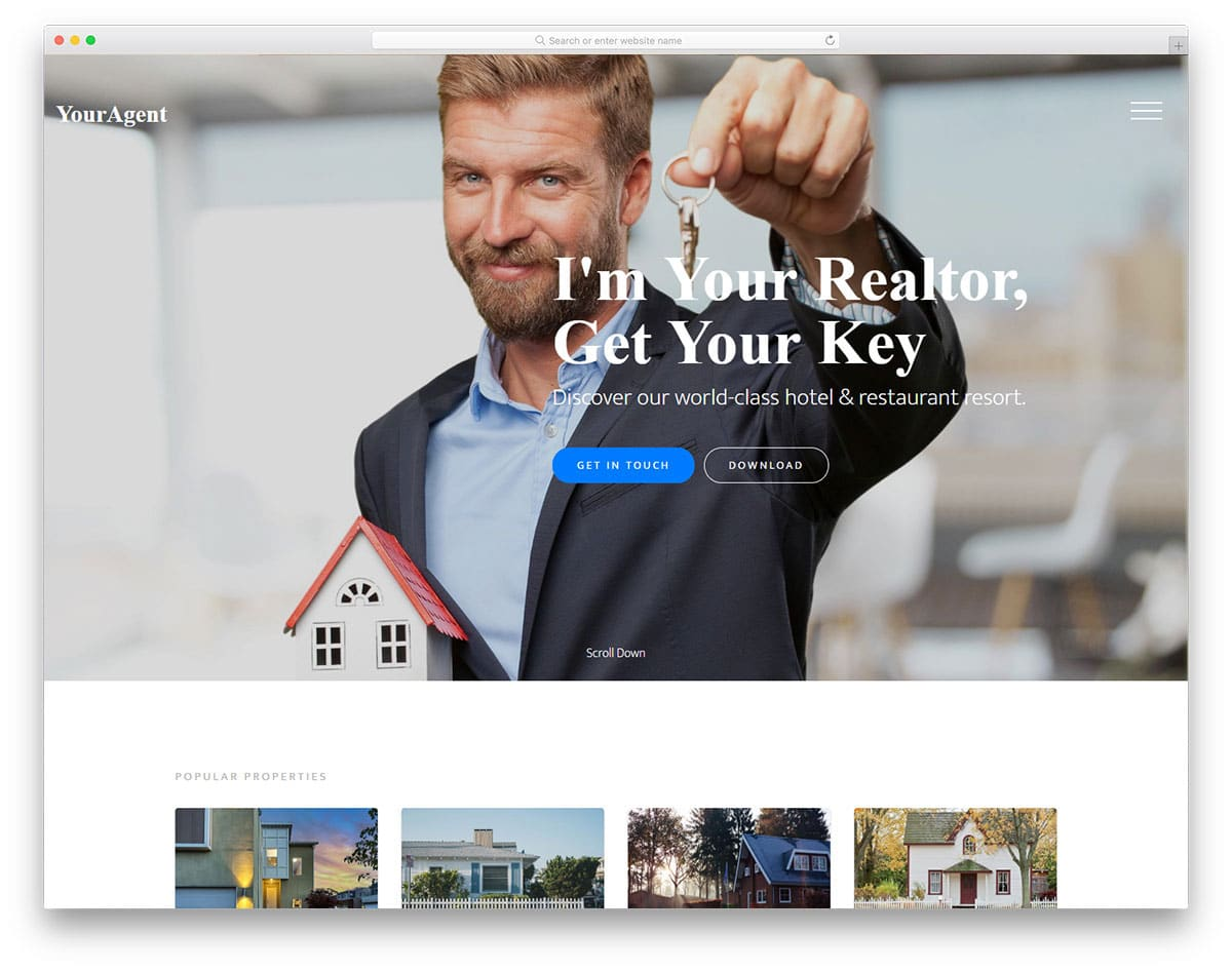 real estate agent and company website template