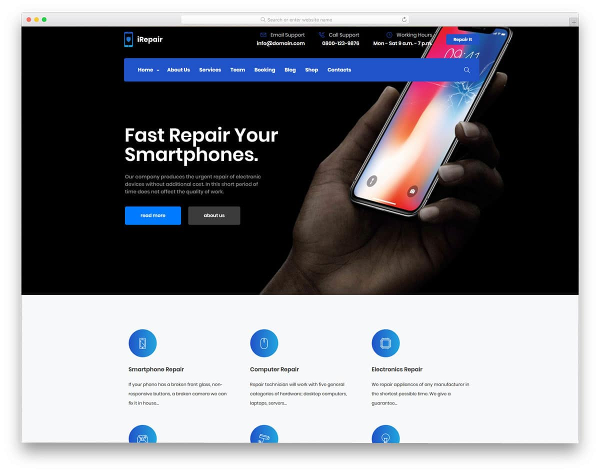 stylish WordPress theme for mobile and computer repair