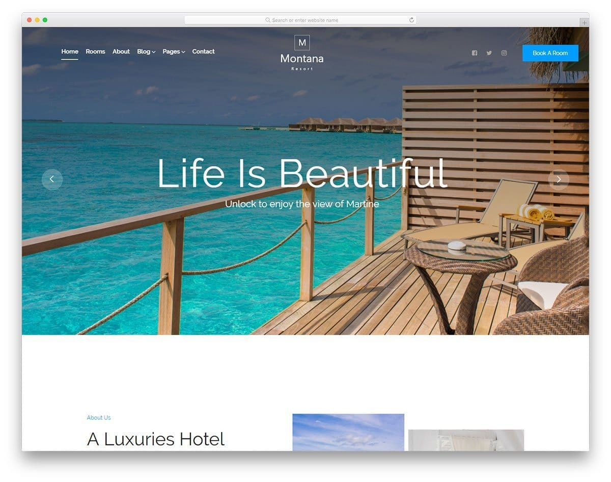 hotel website template with simple design