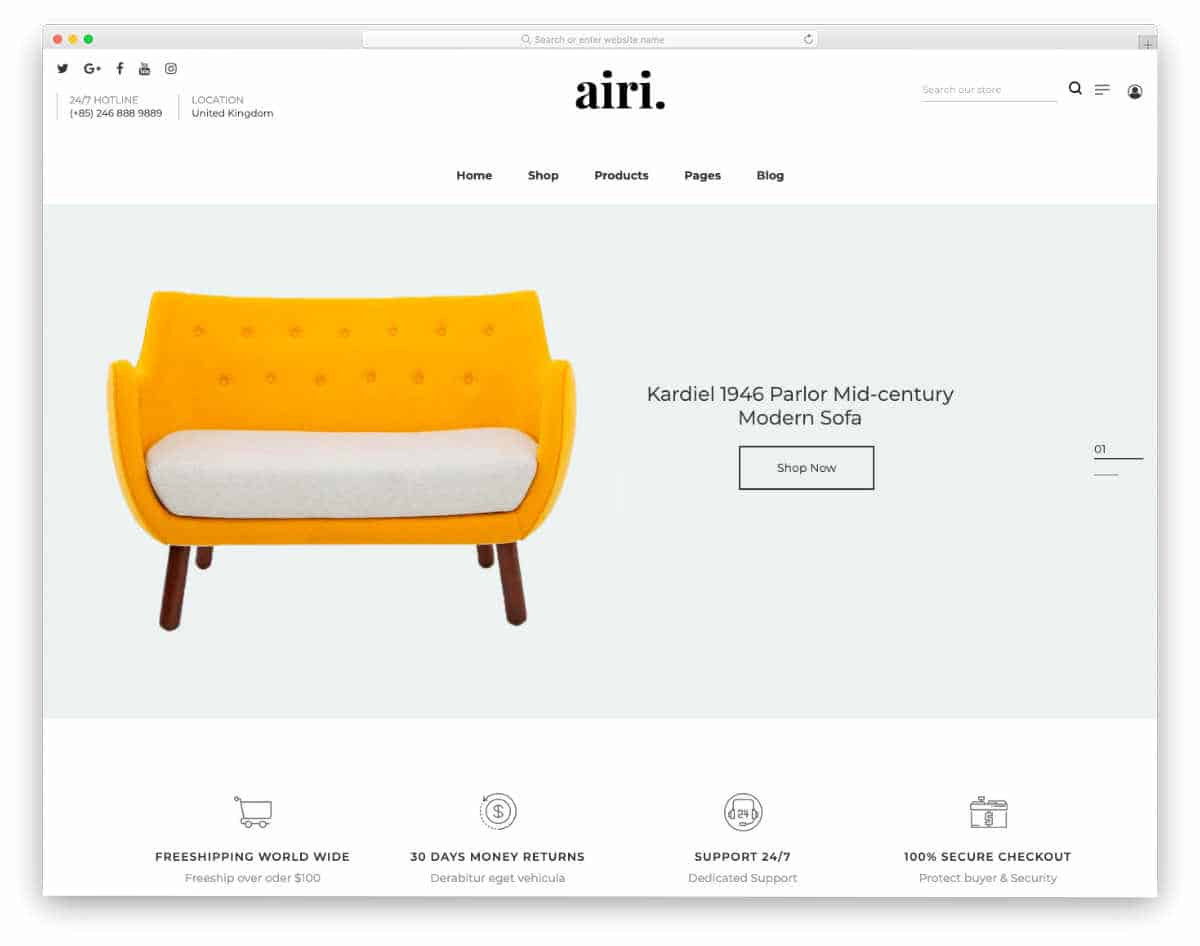 subscription shopify themes for furniture stores