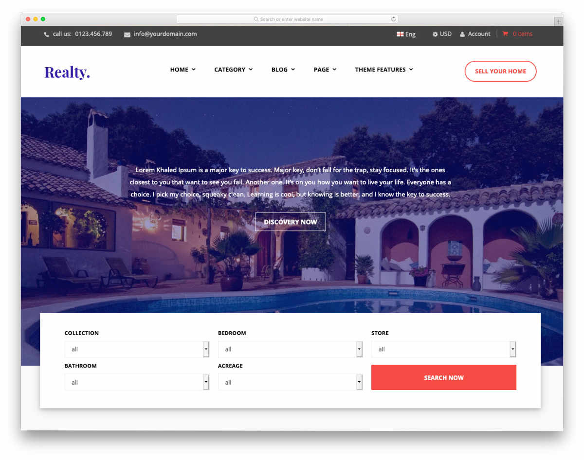Shopify real estate themes with a clean design