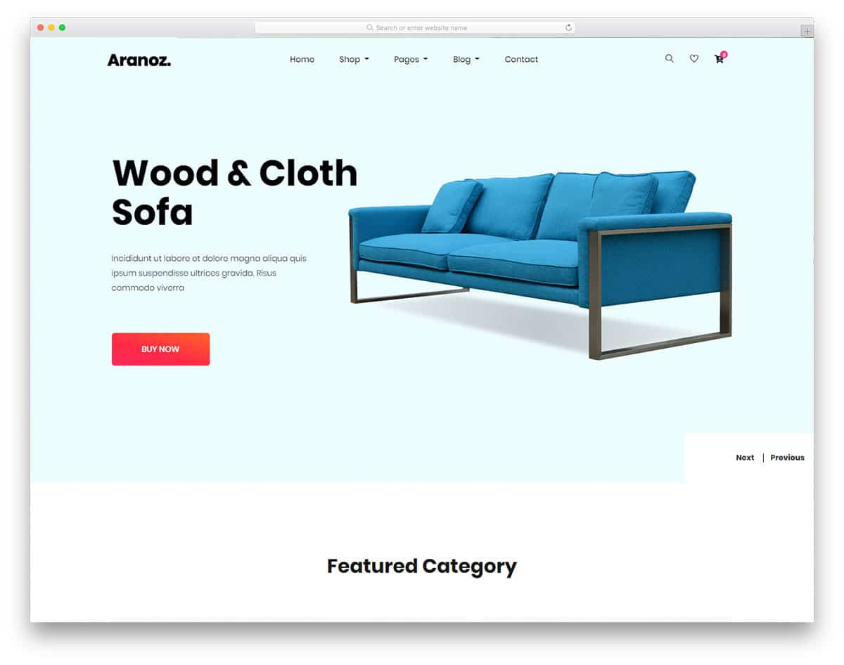 online furniture store website template