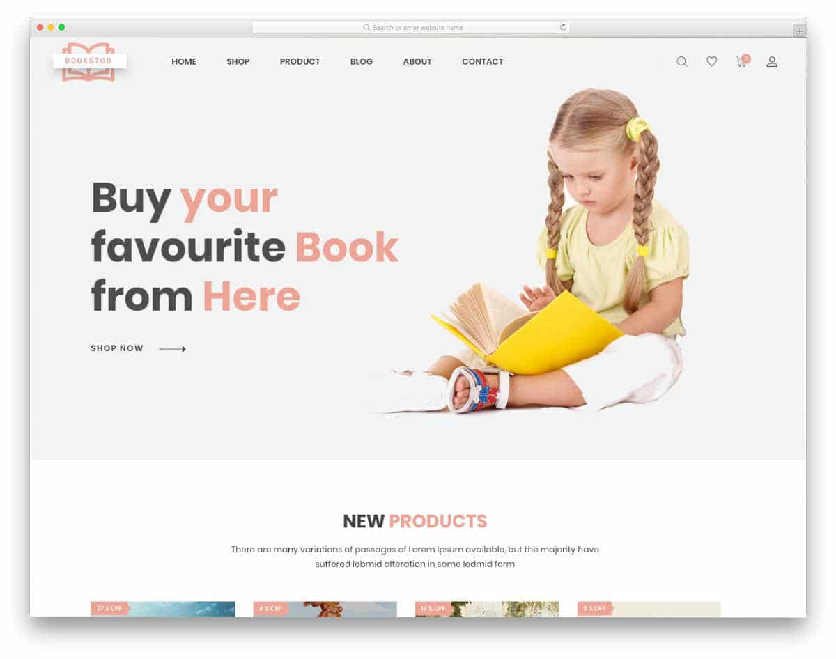 shopify bookstore themes with a clean design