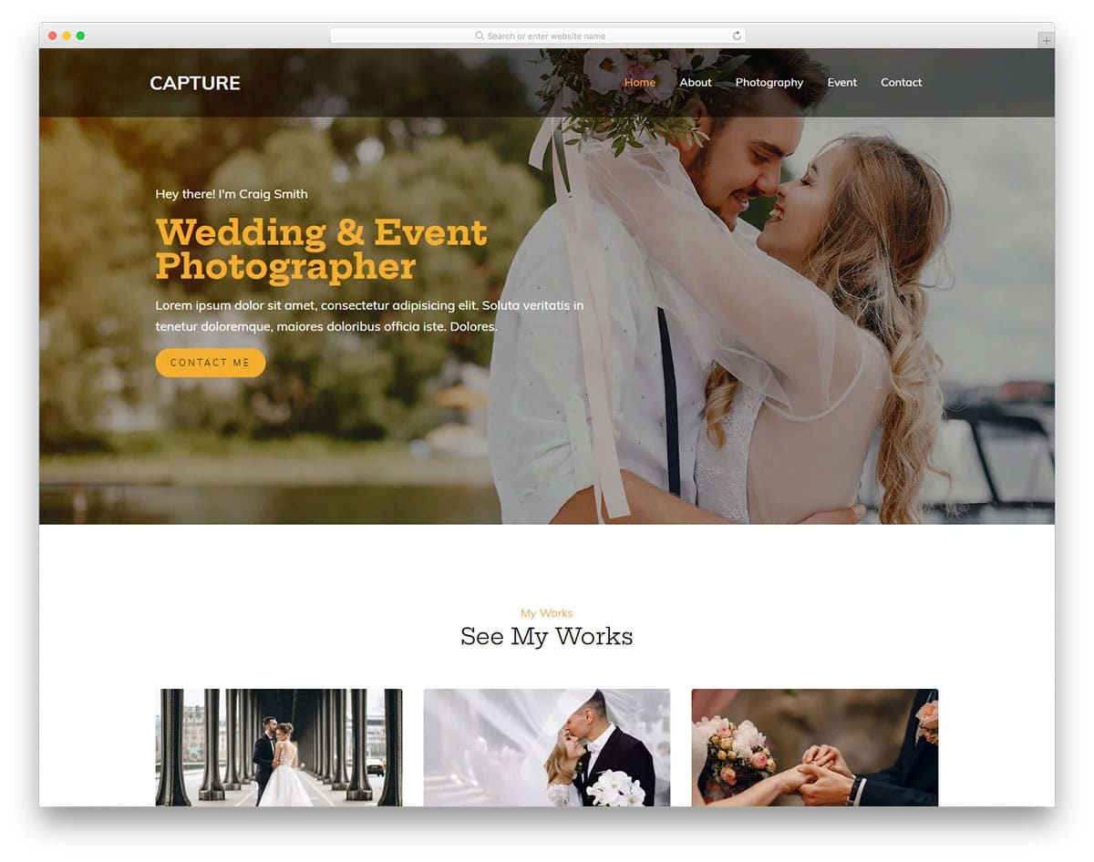 photo gallery template for wedding photographers