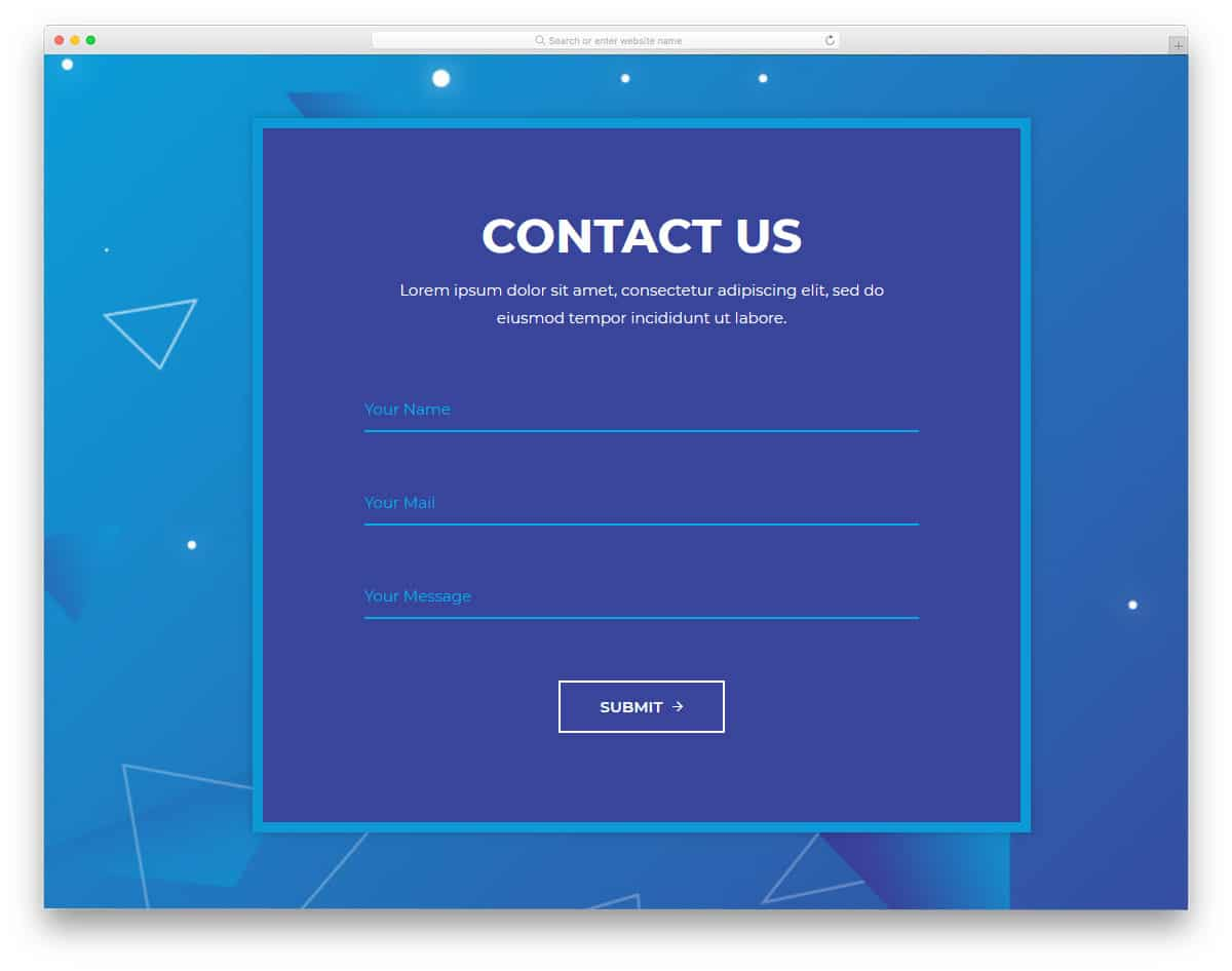 big and wide contact form template