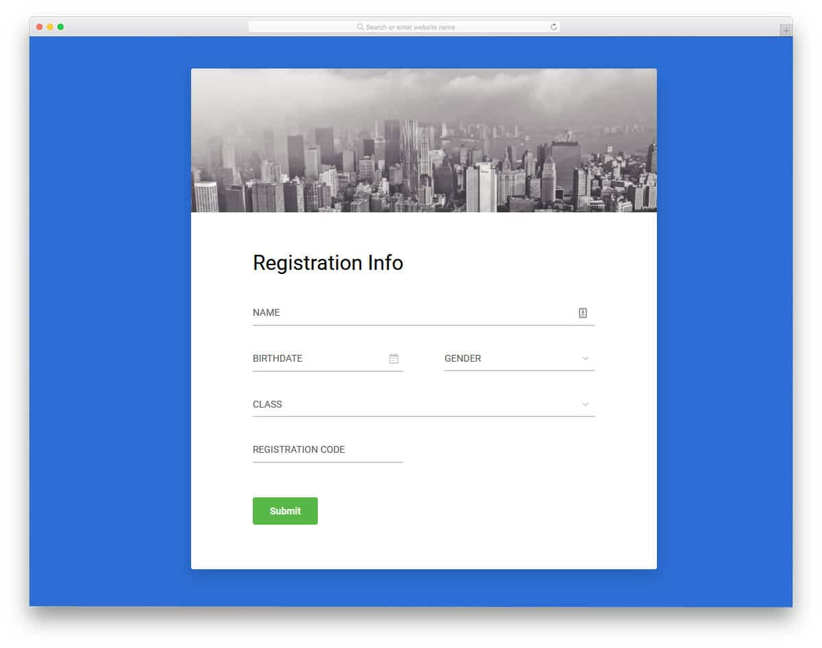 clean form template with useful elements