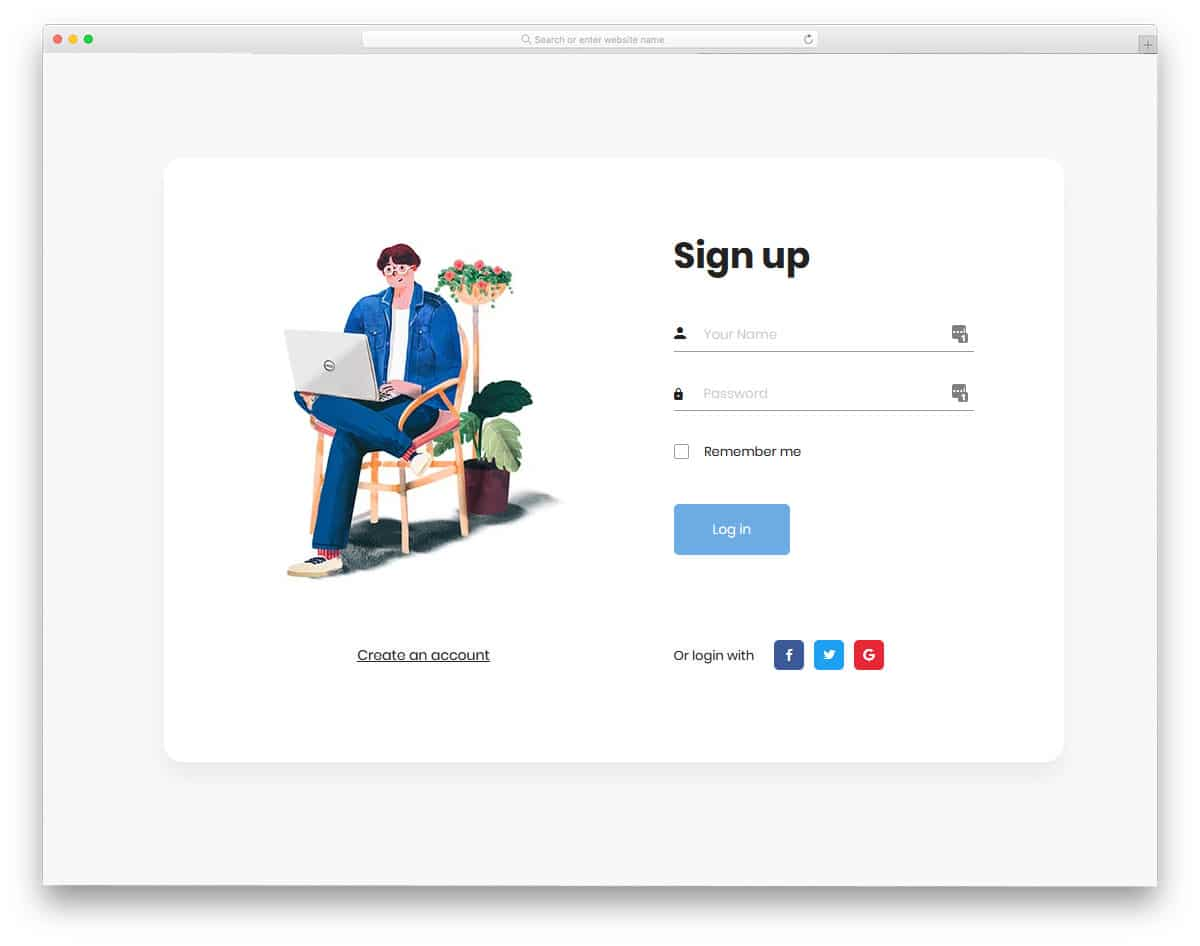 trendy looking login page design