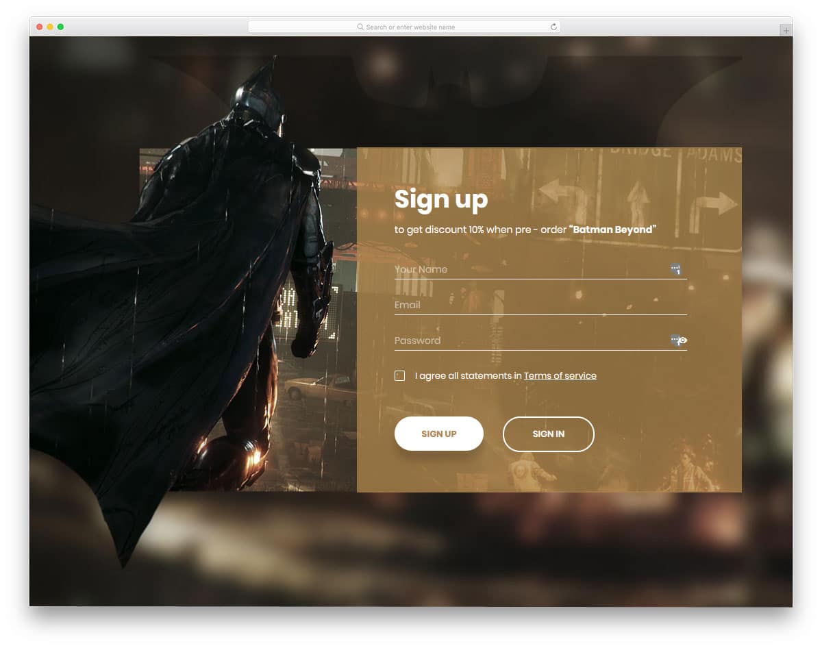 registration form for gaming website