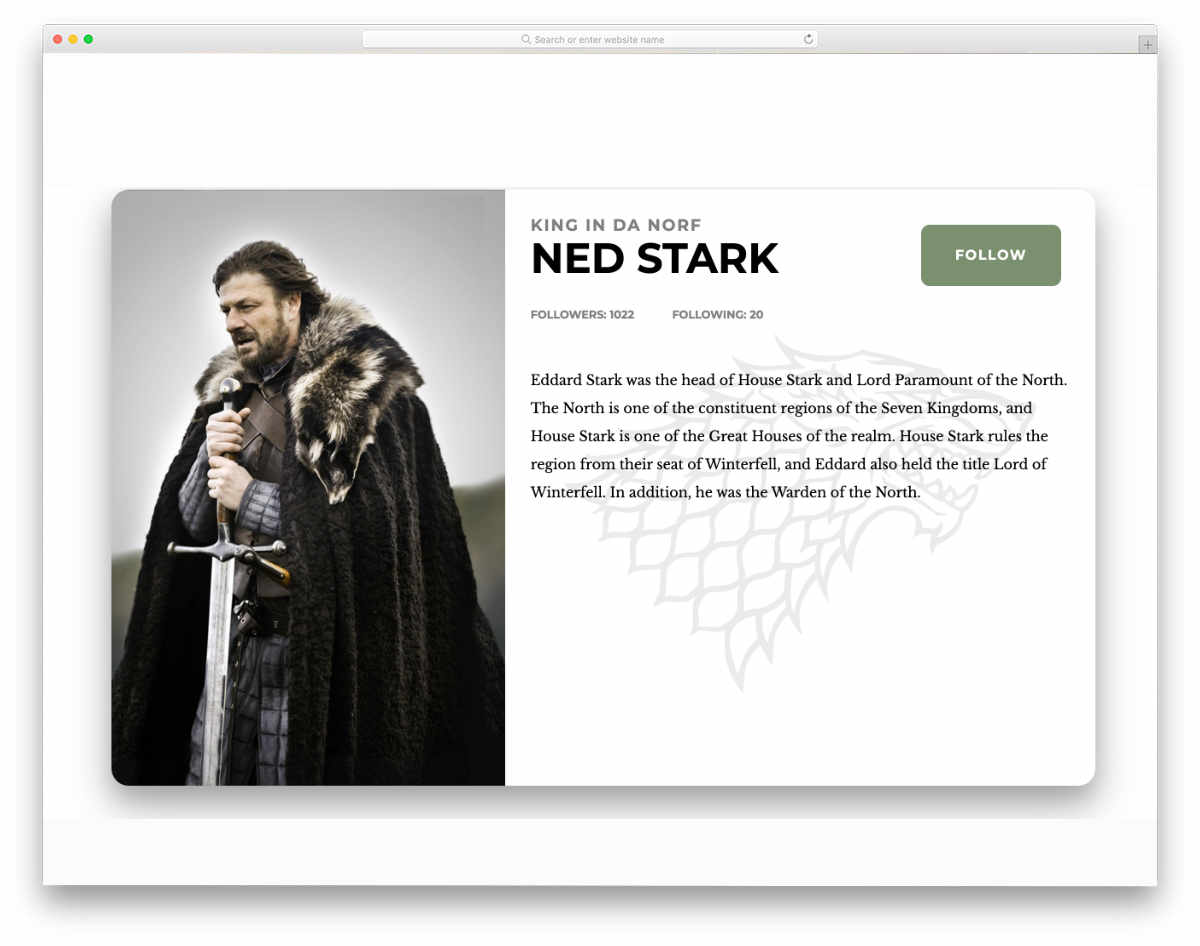profile page with carousel effect