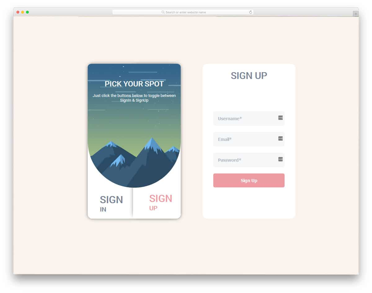 interactive mobile application login screen design
