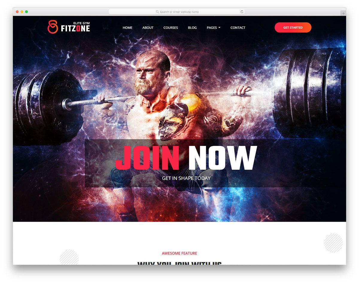 bold looking sports and fitness website template