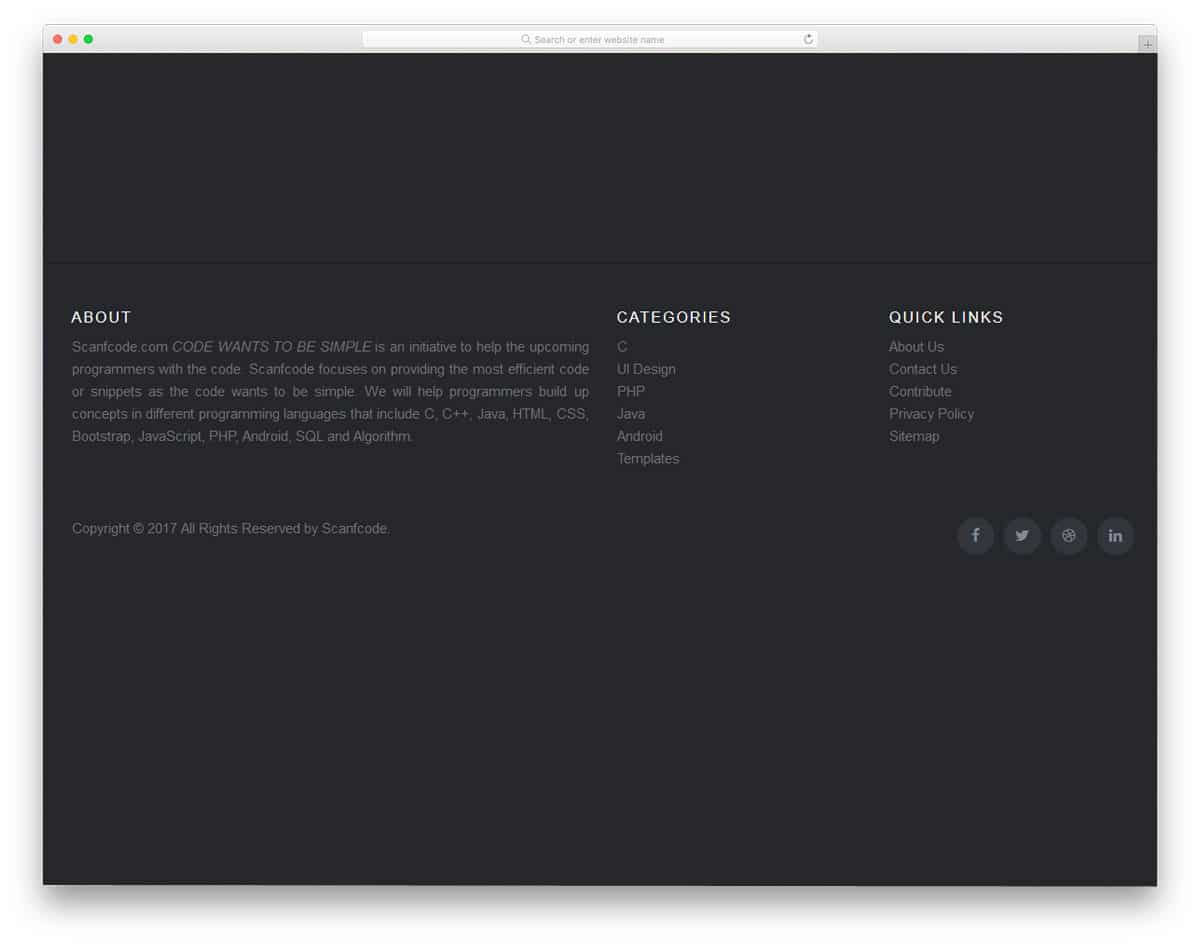 simple and professional-looking footer