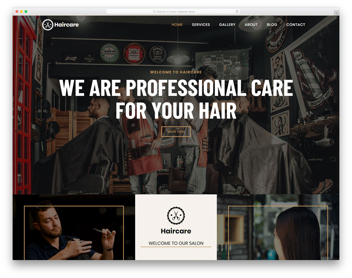 stylish looking barber website template