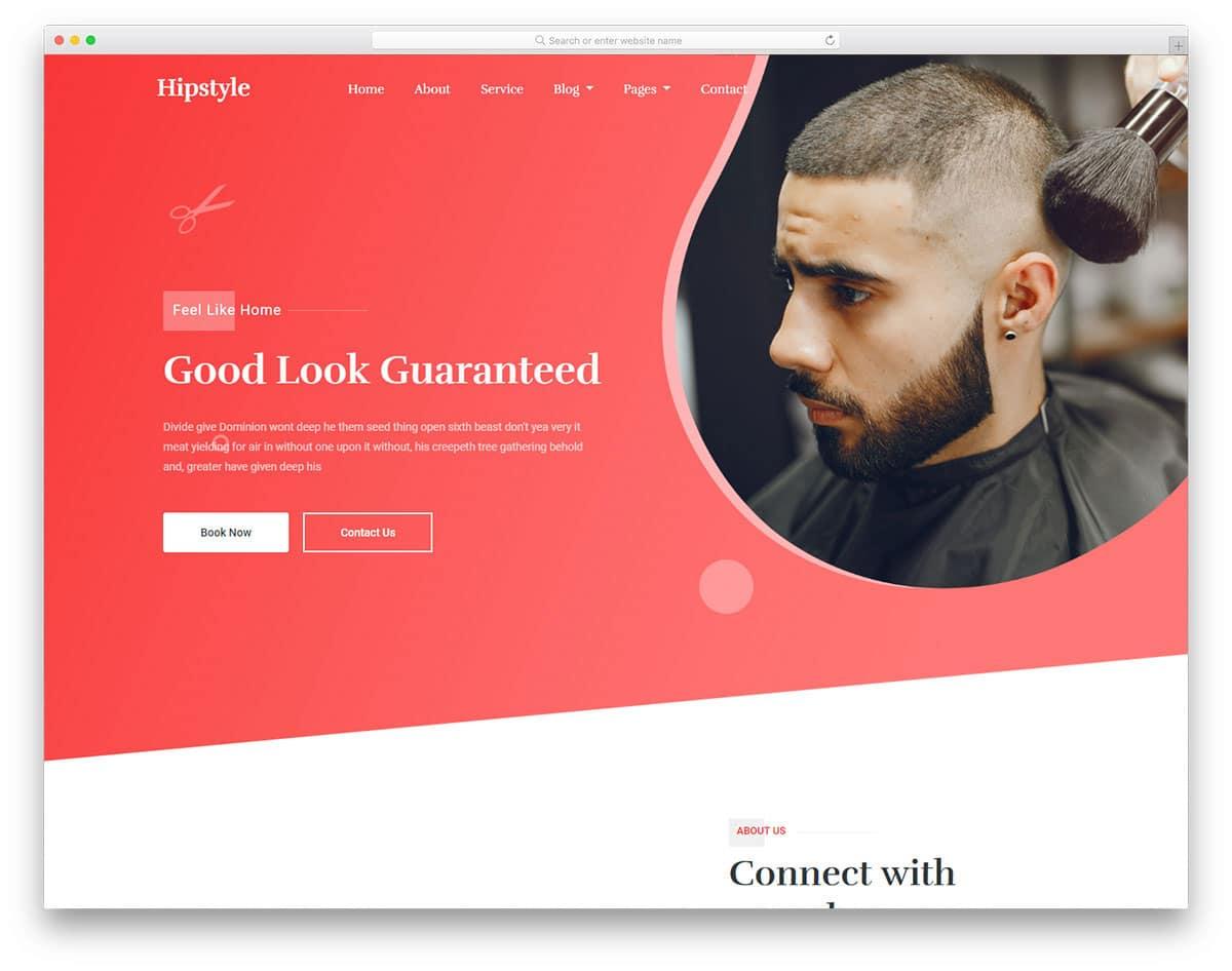 modish looking hair salon website template