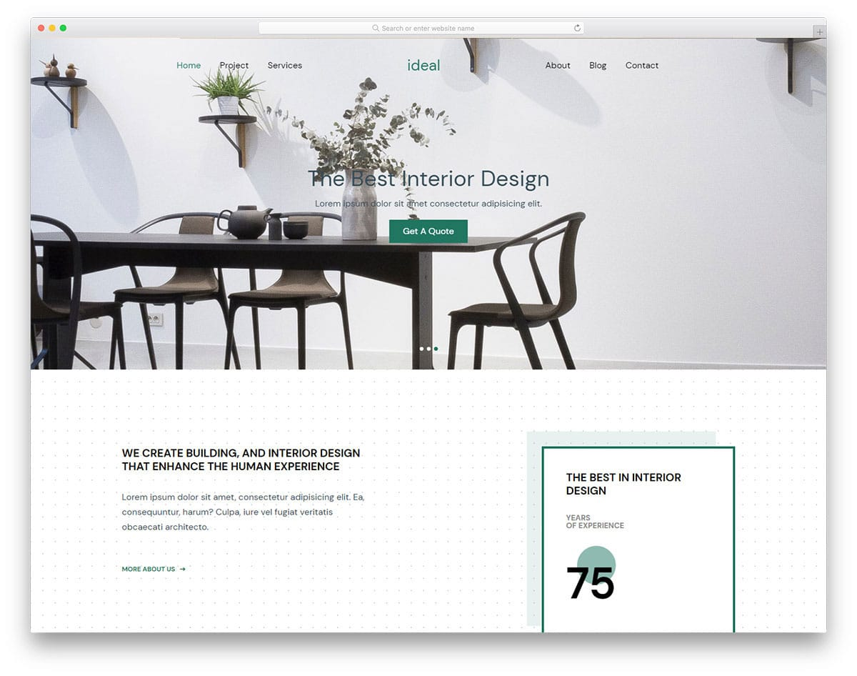 website template for interior designers