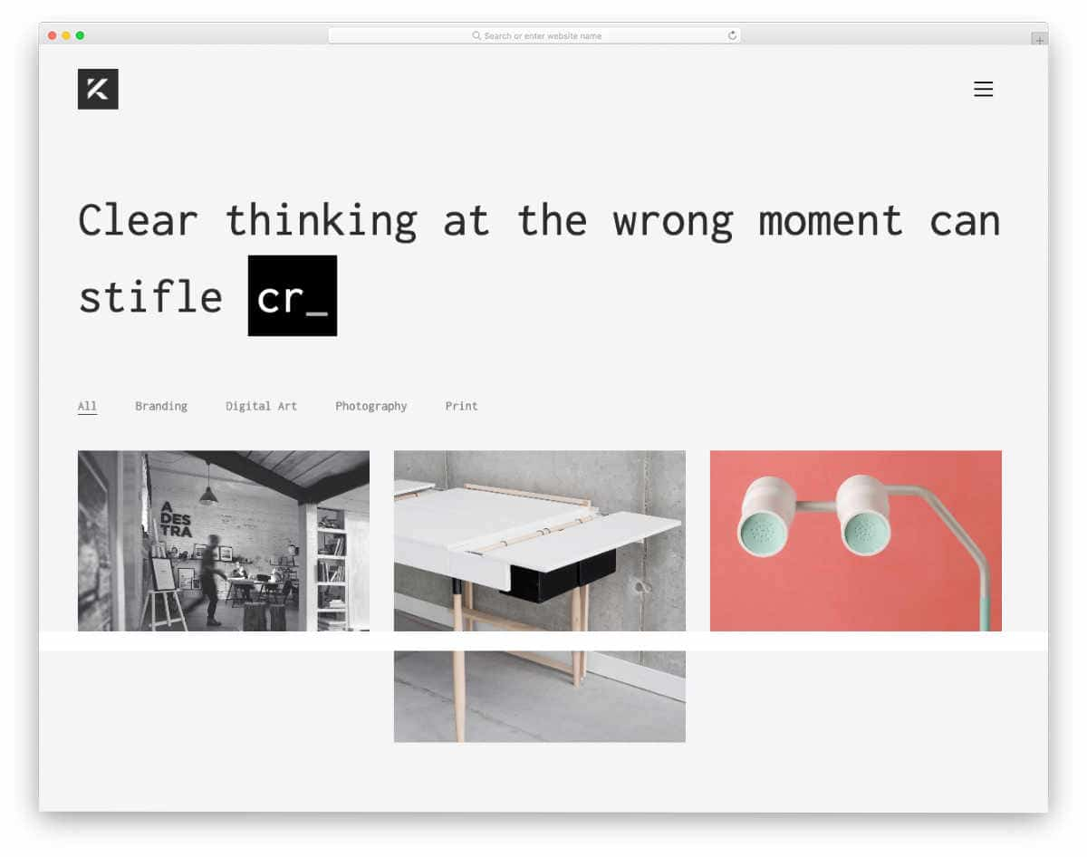 minimal portfolio-centric agecny theme