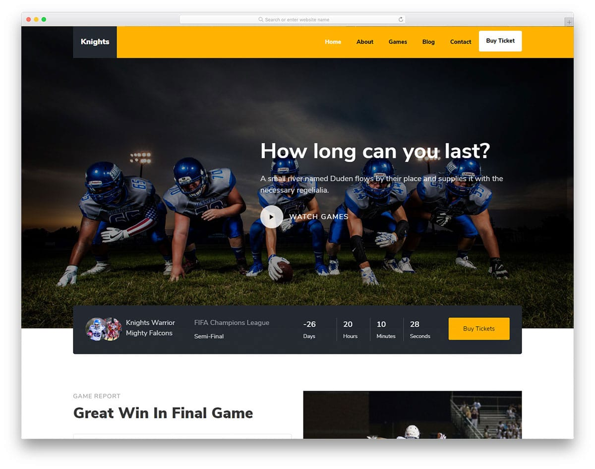 american football sports website template