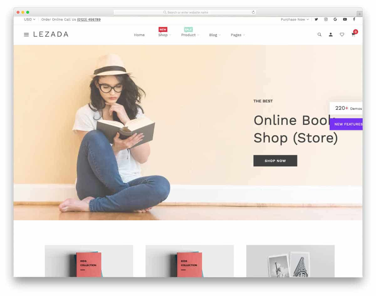 shopify bookstore themes with useful features