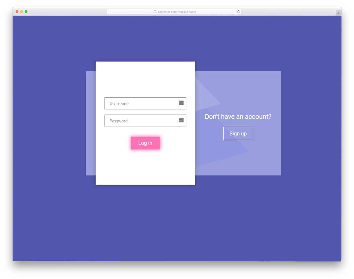 colorful login and registration forms