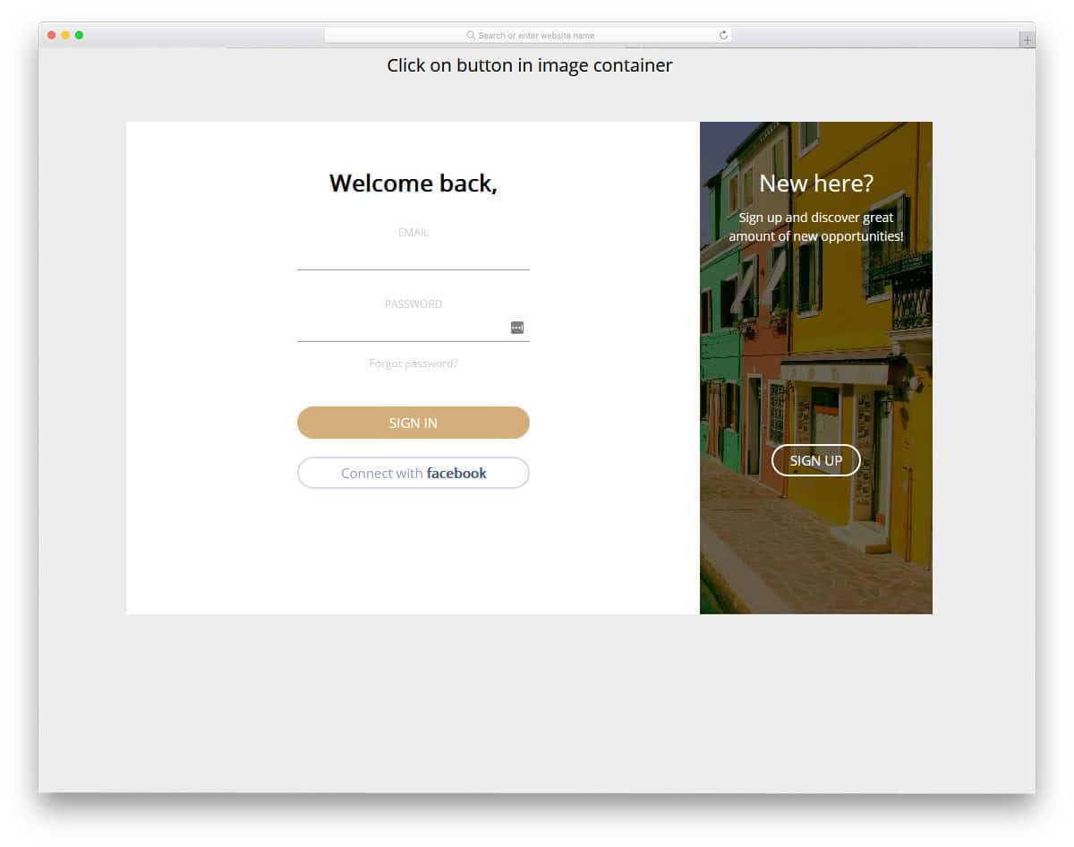 animated login and registration page design