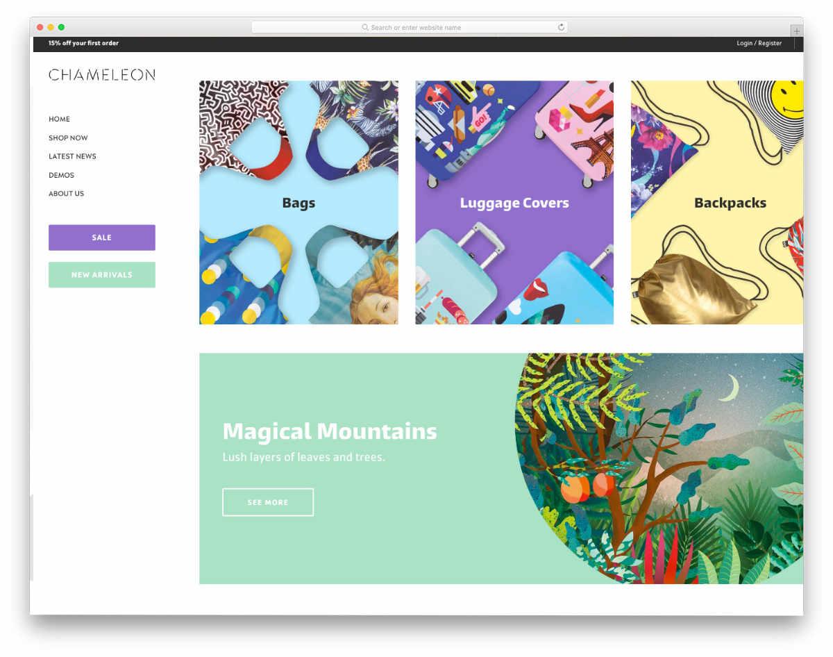 colorful masonry style shopify theme