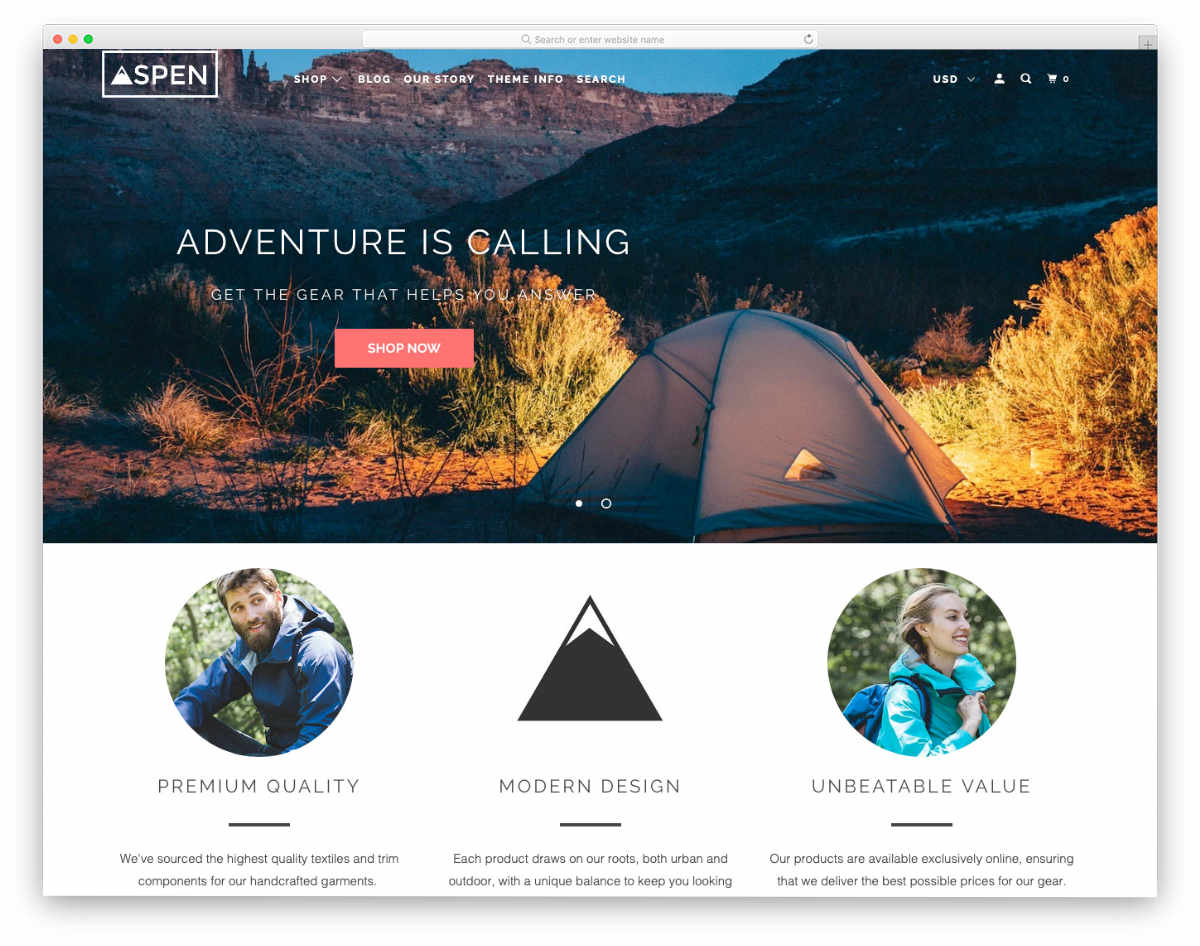 Shopify Parallax Theme for medium inventory and single product websites