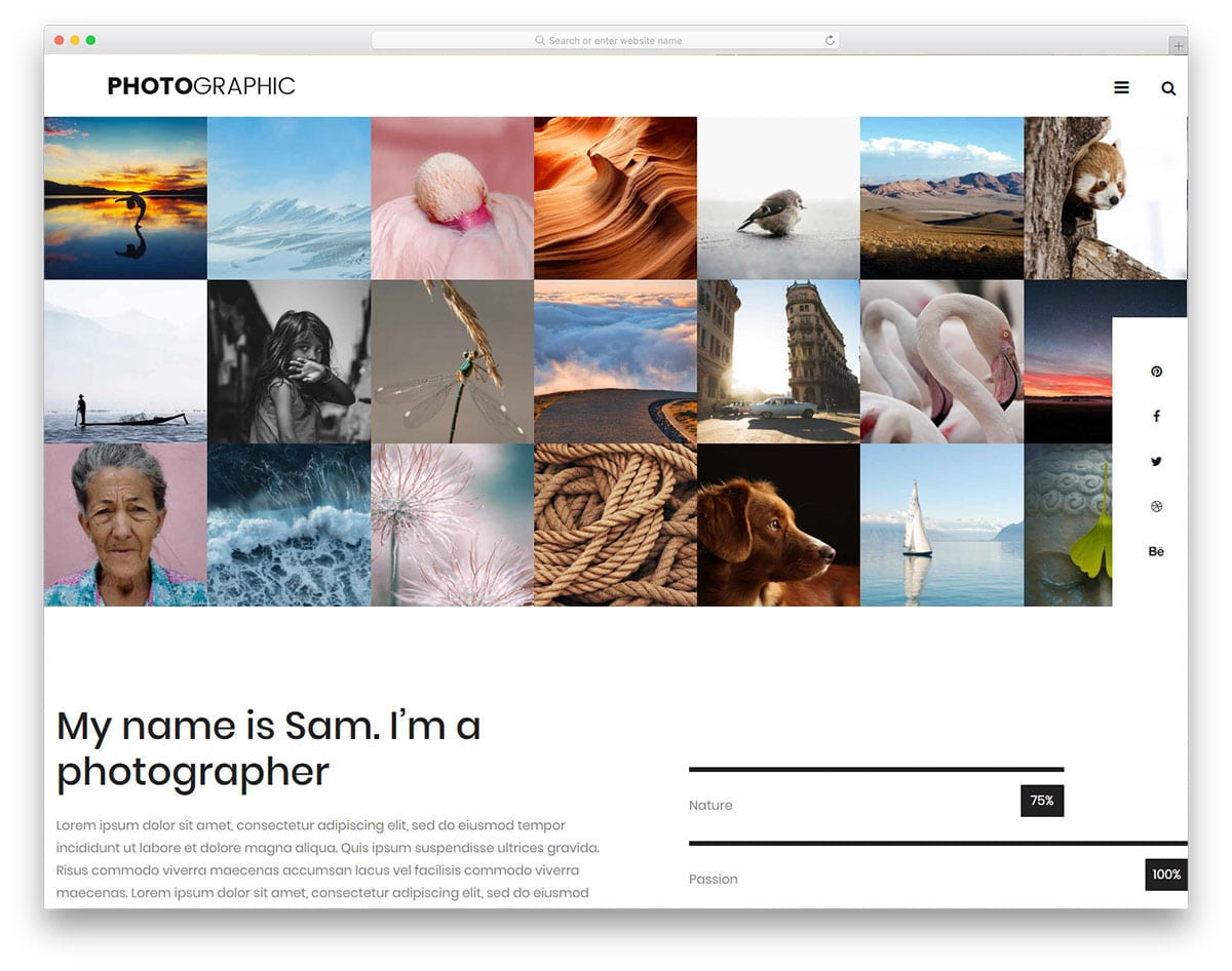 website template for professional photographers