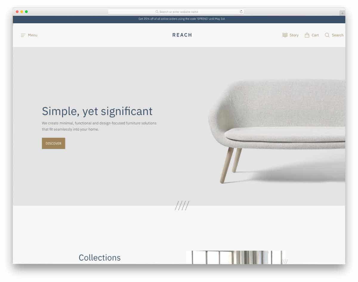 minimal furniture store theme
