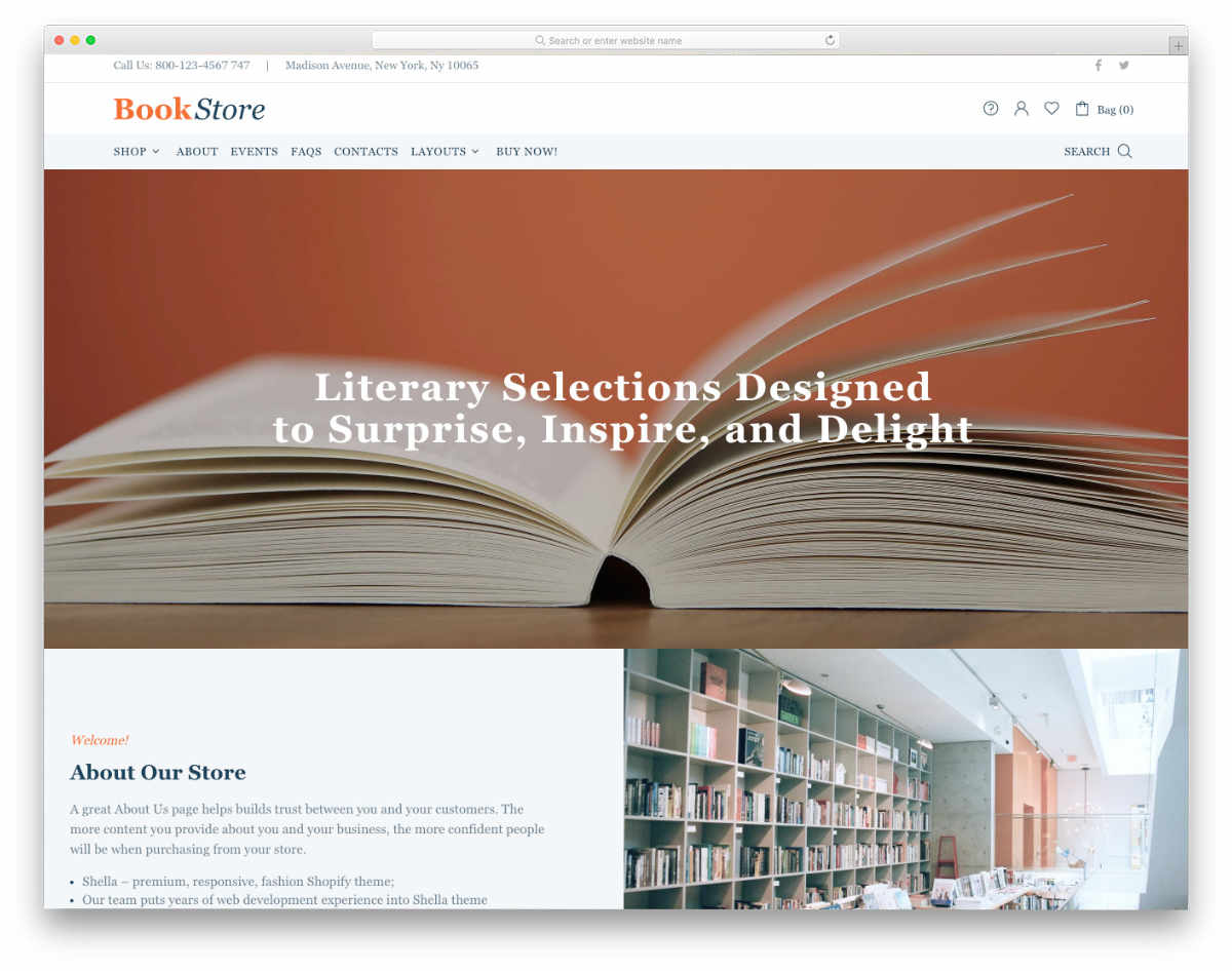 shopify bookstore themes with minimal design