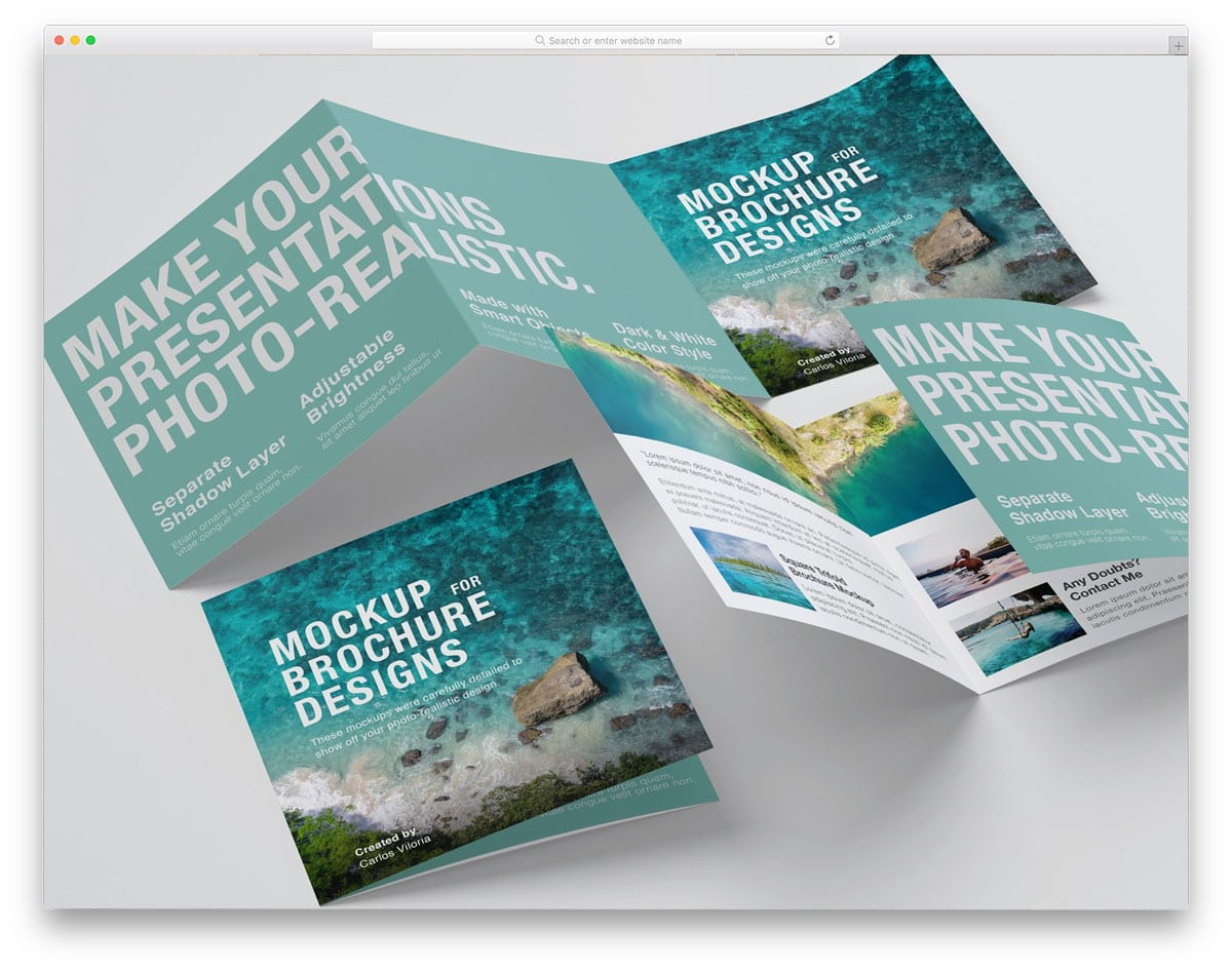 brochure mockup with multiple customizations