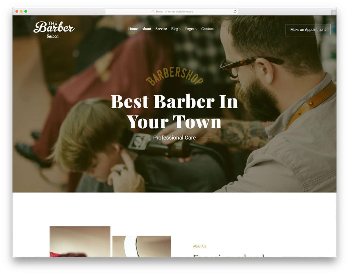 hair salon website with a clean and professional design