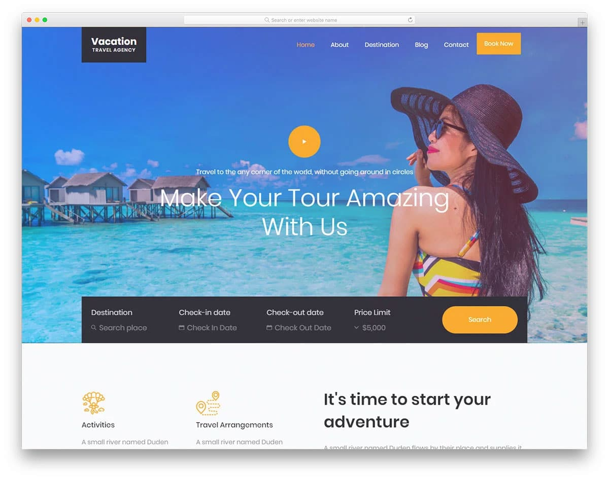best hotel website template for hotels in vacation spots