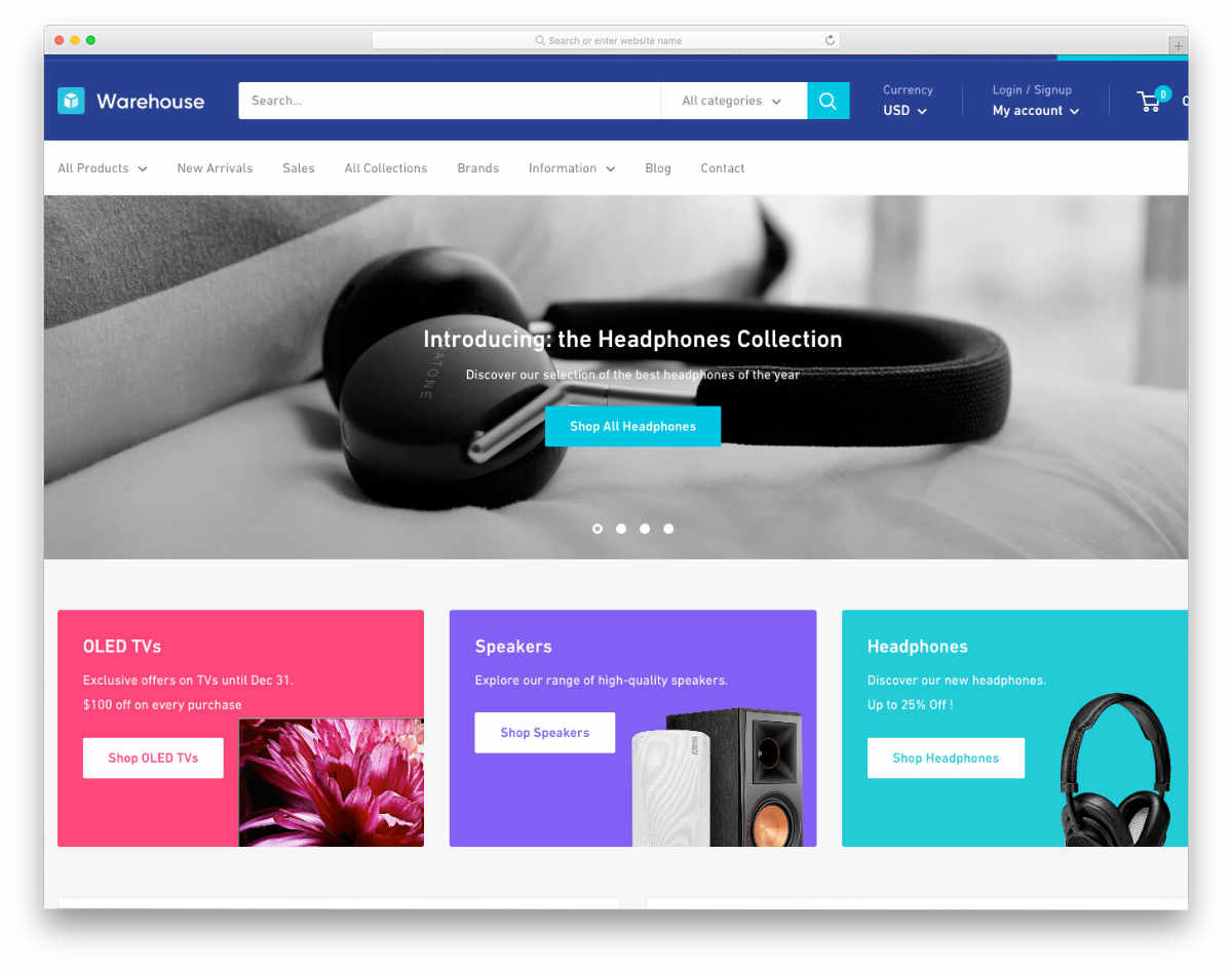 simple shopify themes for big stores