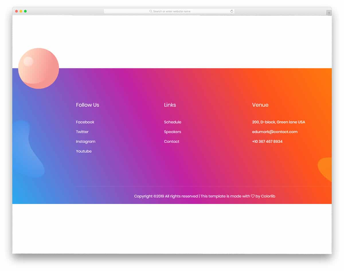 colorful footer with modern elements