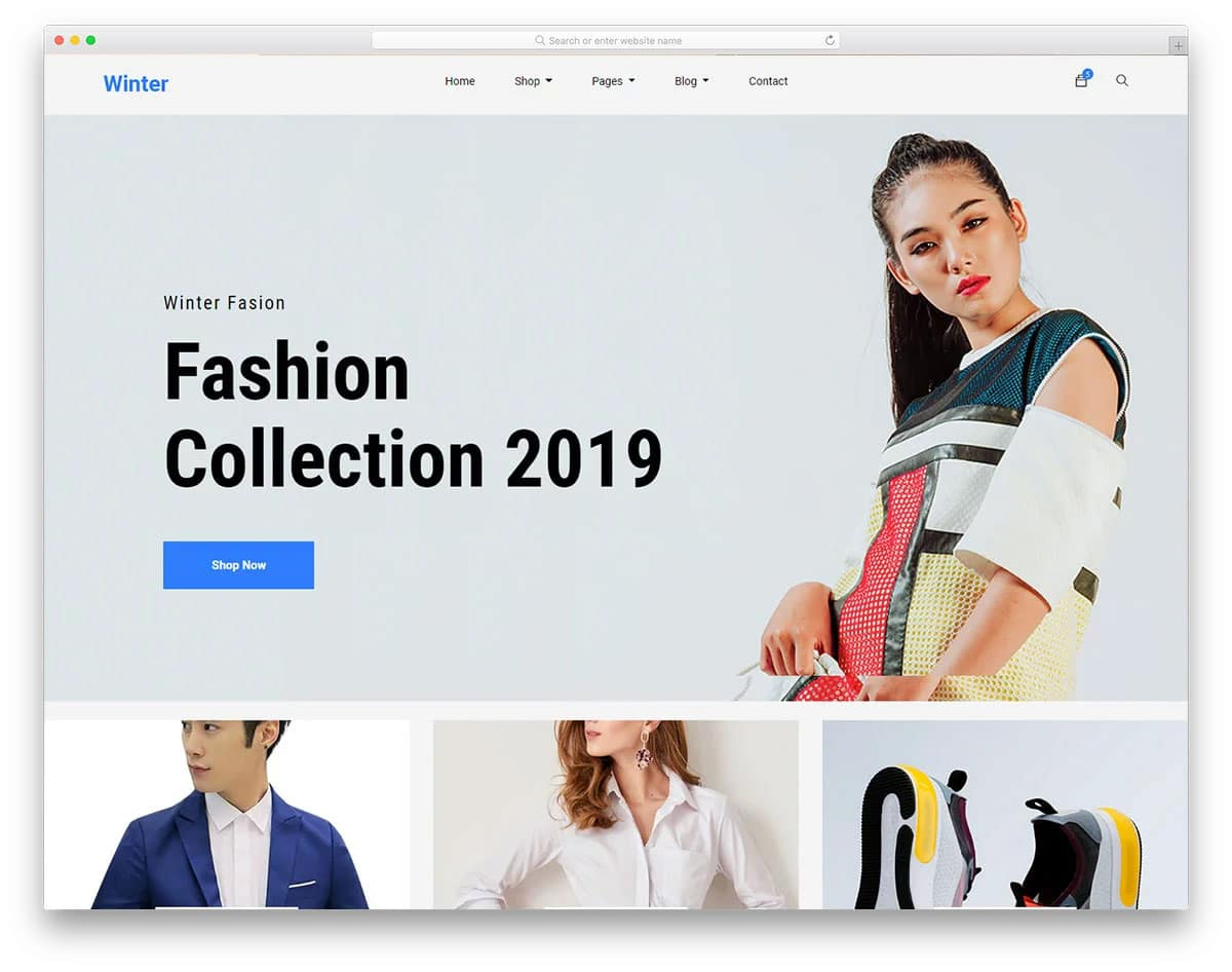 online shopping website template with big imagery