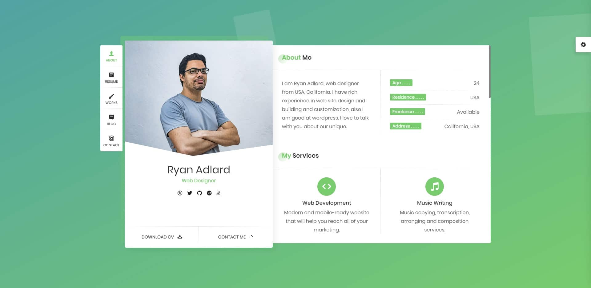 ryan personal website template