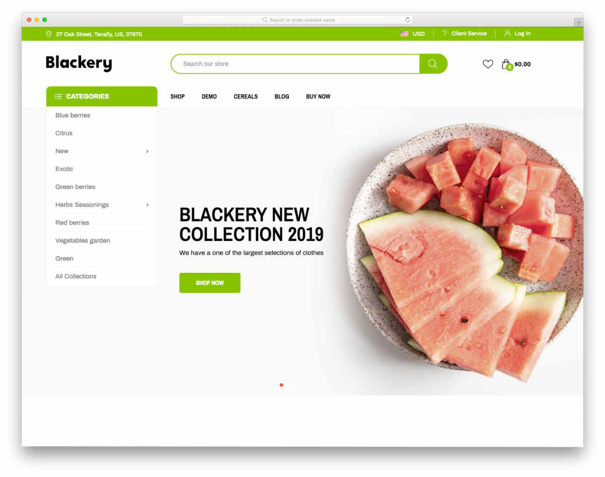 clean and simple food shopify theme
