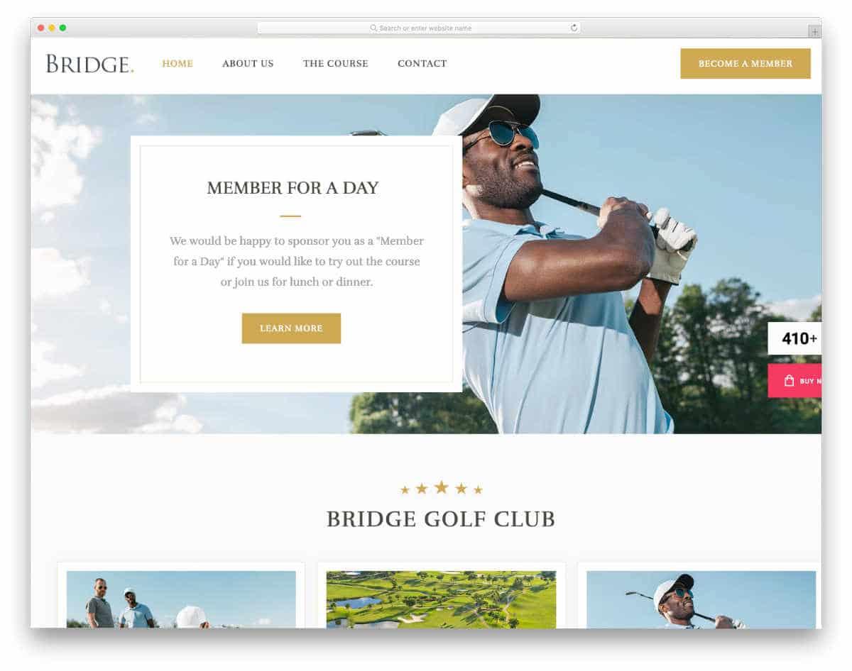 easy-to-customize WordPress golf theme