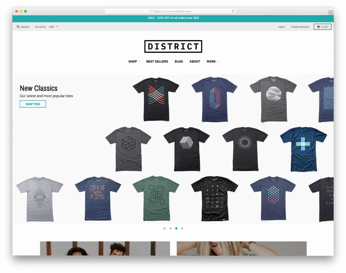 brand-focused Shopify theme for t-shirts