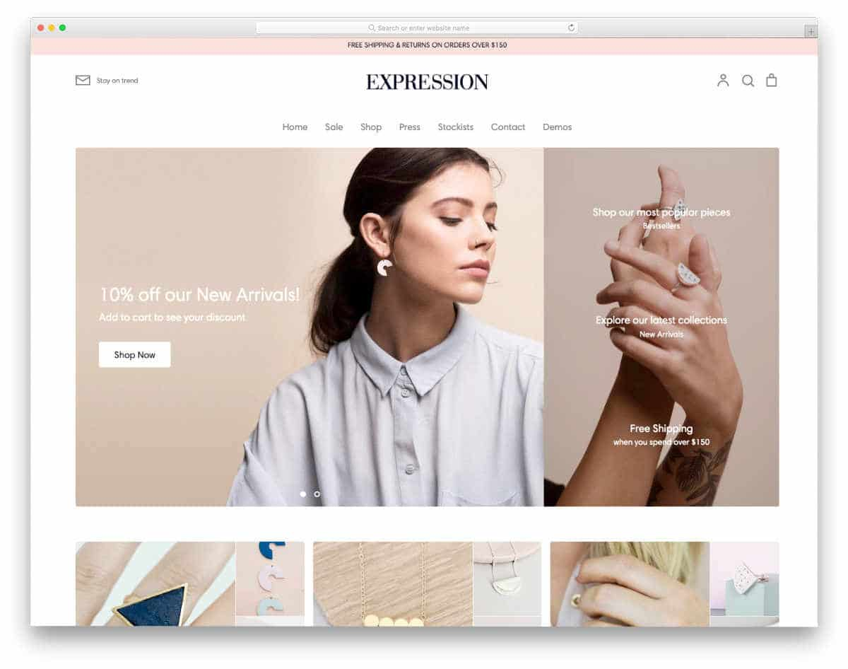 Shopify jewelry themes with big imageries