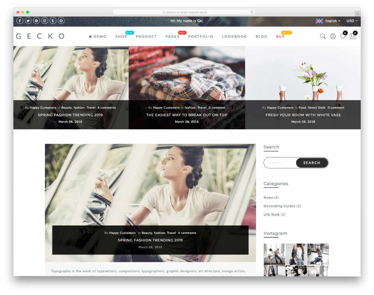 shopify blog themes with featured image section