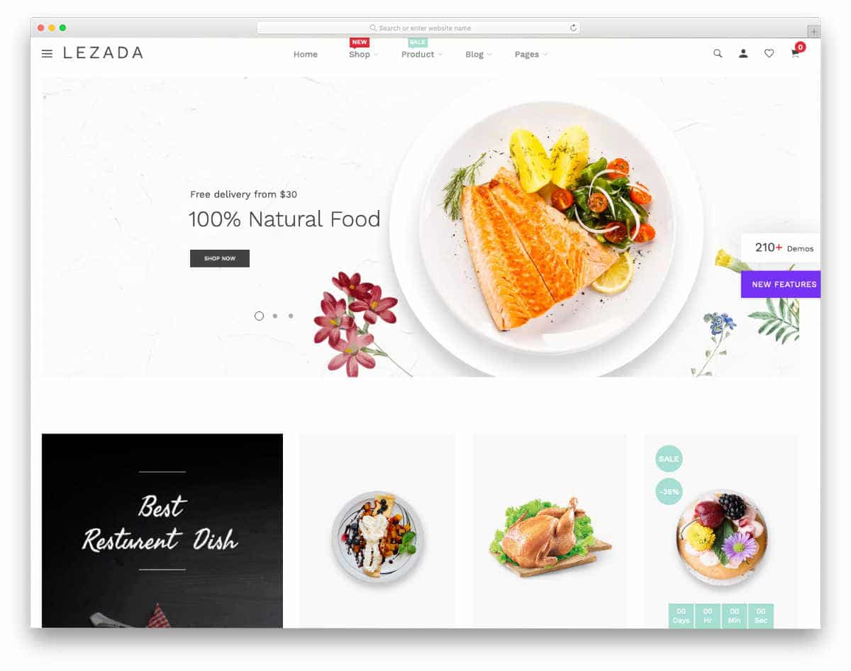 Shopify restaurant themes with simple design
