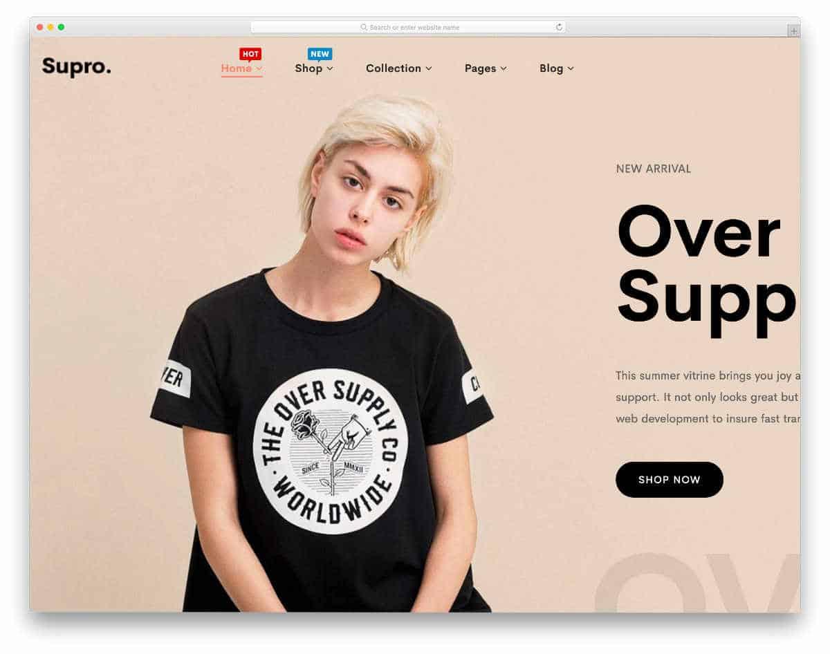 modern looking shopify theme