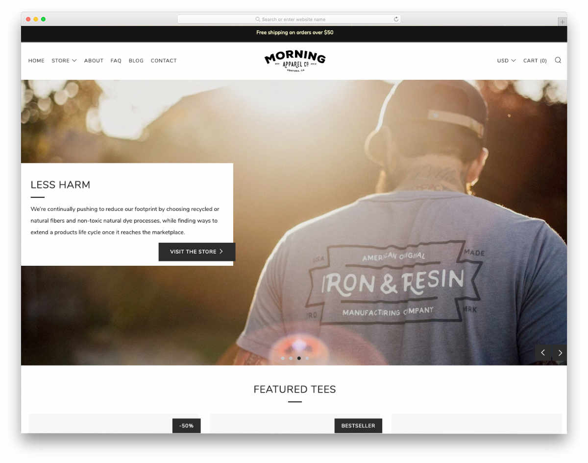 Shopify theme for t-shirts with video background