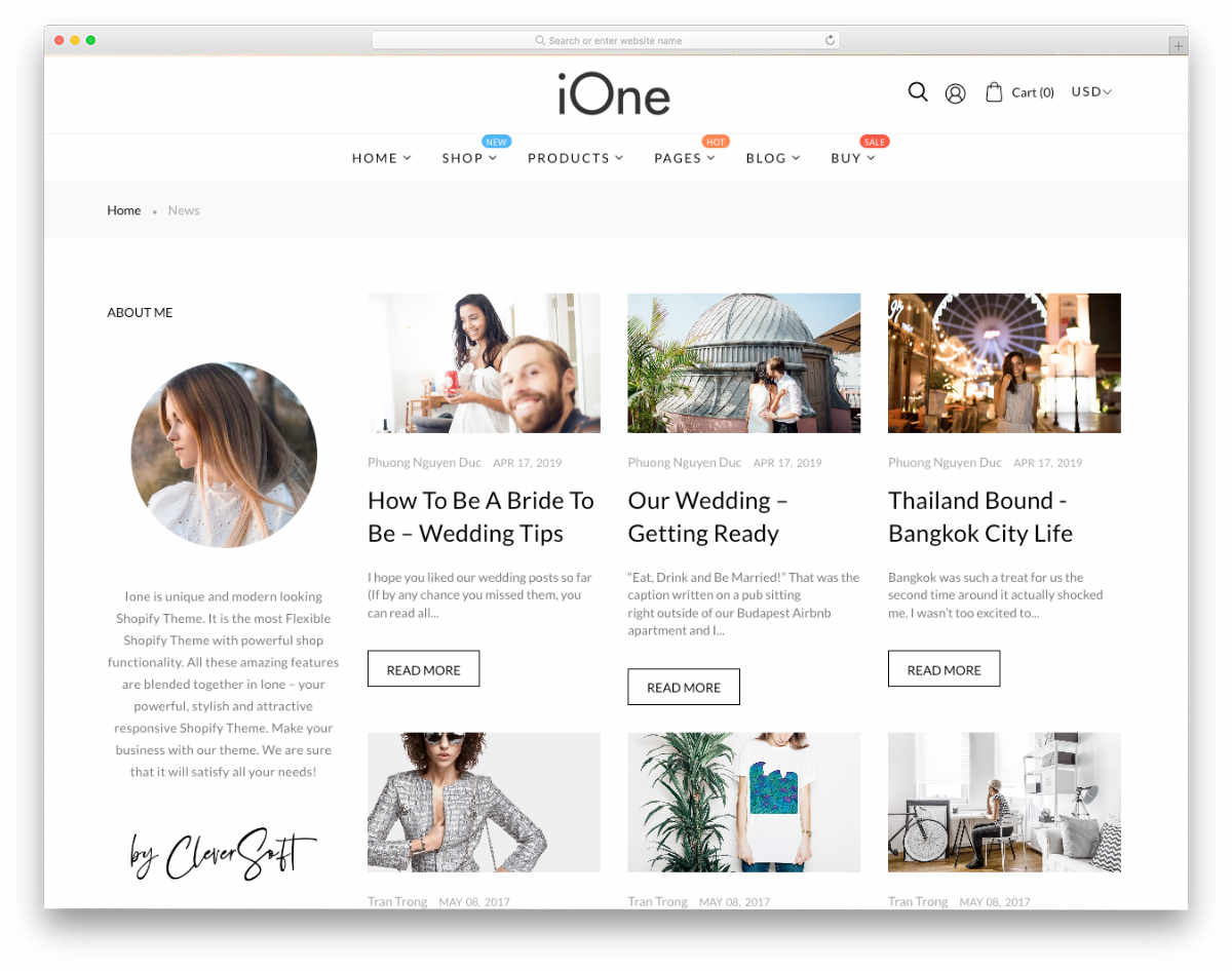 shopify online store with blog layout
