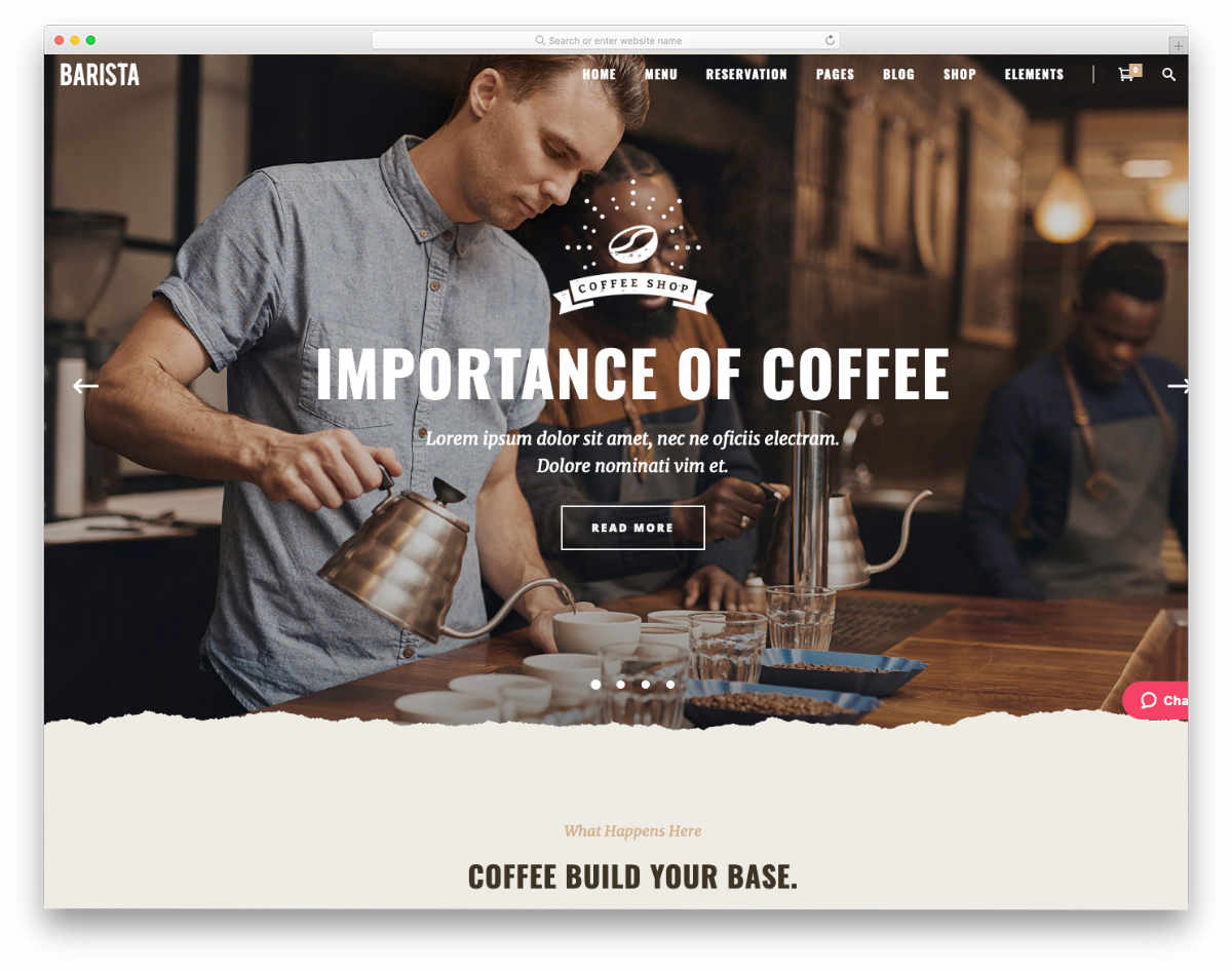 dynamic website templates for coffee shops