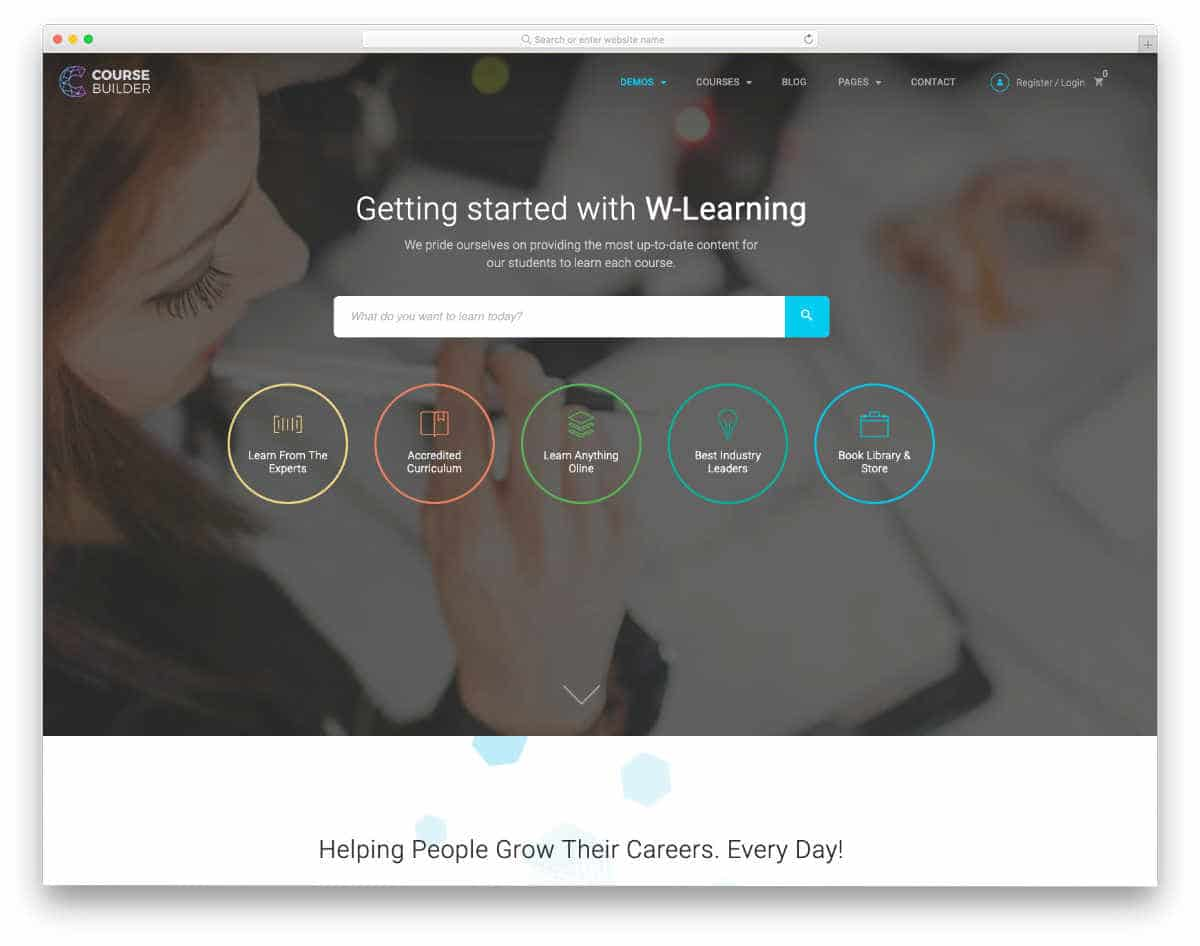 education website template with useful features