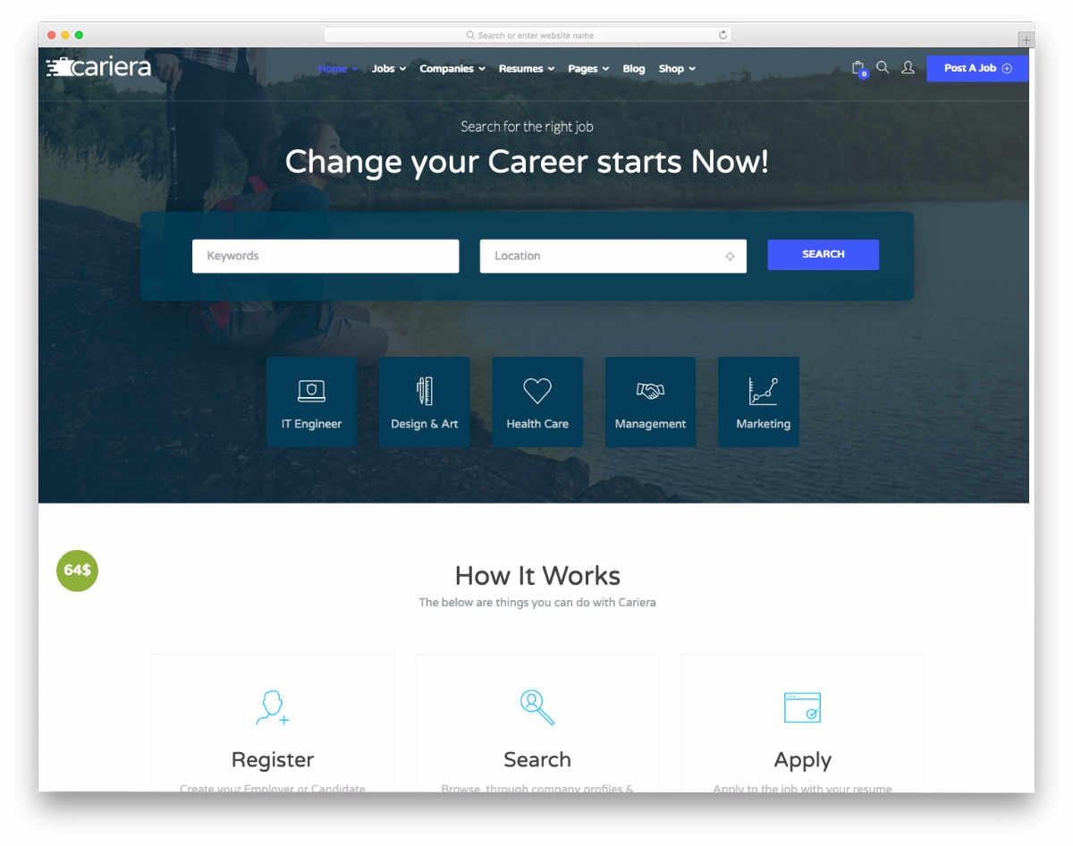 database website templates for job listing sites