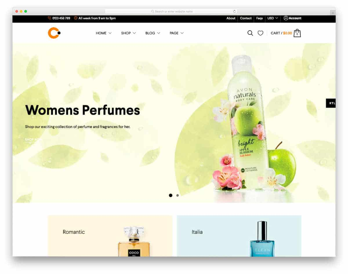 ecommerce website template with page builder